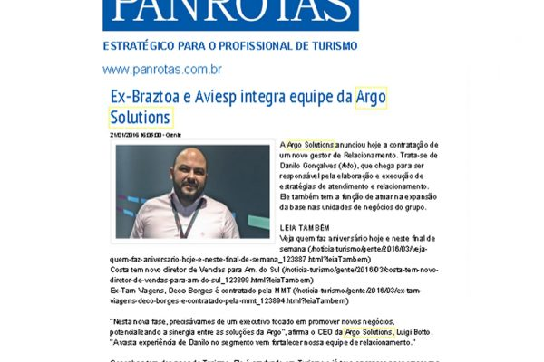 Argo Solutions – Jornal Panrotas – 21/01/2016