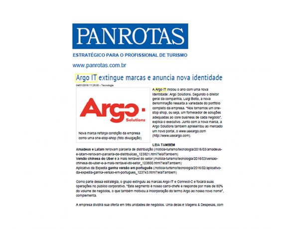 Argo Solutions – Jornal Panrotas – 04/01/2016