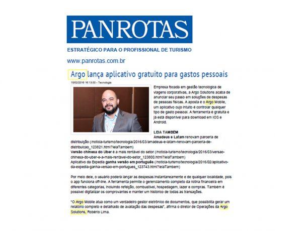 Argo Solutions – Jornal Panrotas – 15/02/2016