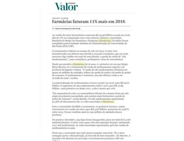 Abrafarma – Valor Econômico – 02.02.2017