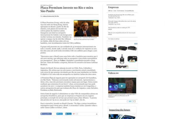 Plaza Premium – Valor Econômico – 09.12.2016