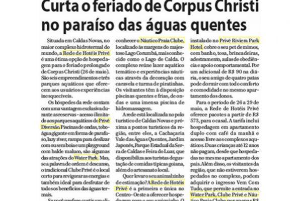 Prive Hotéis & Resorts – Jornal de Uberaba – 08.05.2016
