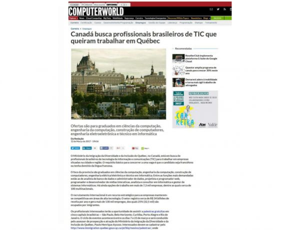Quebec – Computer World – 12.03.2017