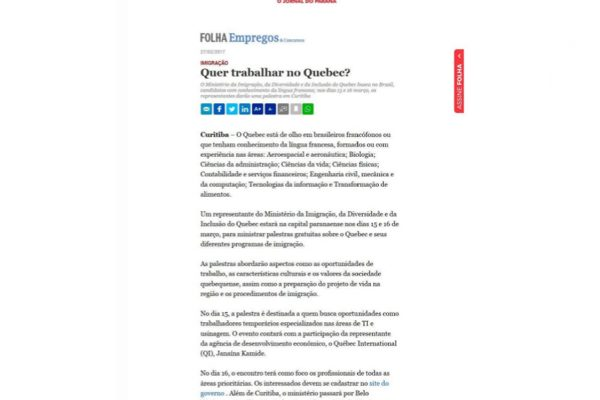 Quebec – Folha de Londrina – 27.02.2017