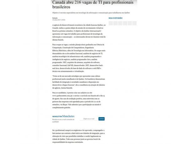 Quebéc – Estadão.com.br – 04.07.2017