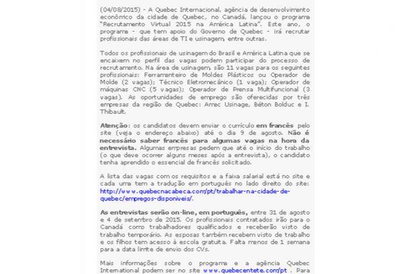 Quebéc – Usinagem Brasil – 04.07.2017