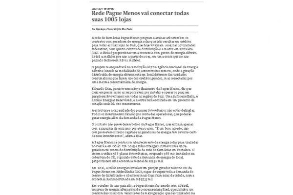 Farmácias Pague Menos – Valor Econômico – 28.07.2017